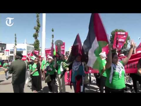 Sepp Blatter interrupted by Palestine protesters in Zurich