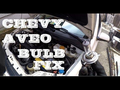 How To Change Headlight Bulb Chevrolet Aveo Youtube