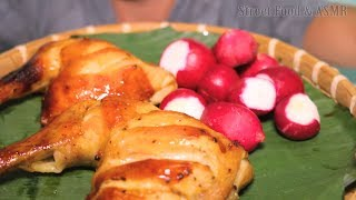 Grilled Chicken Thigh with Honey, Sate Chili Sauce and Crunchy Radishes || Street Food & ASMR