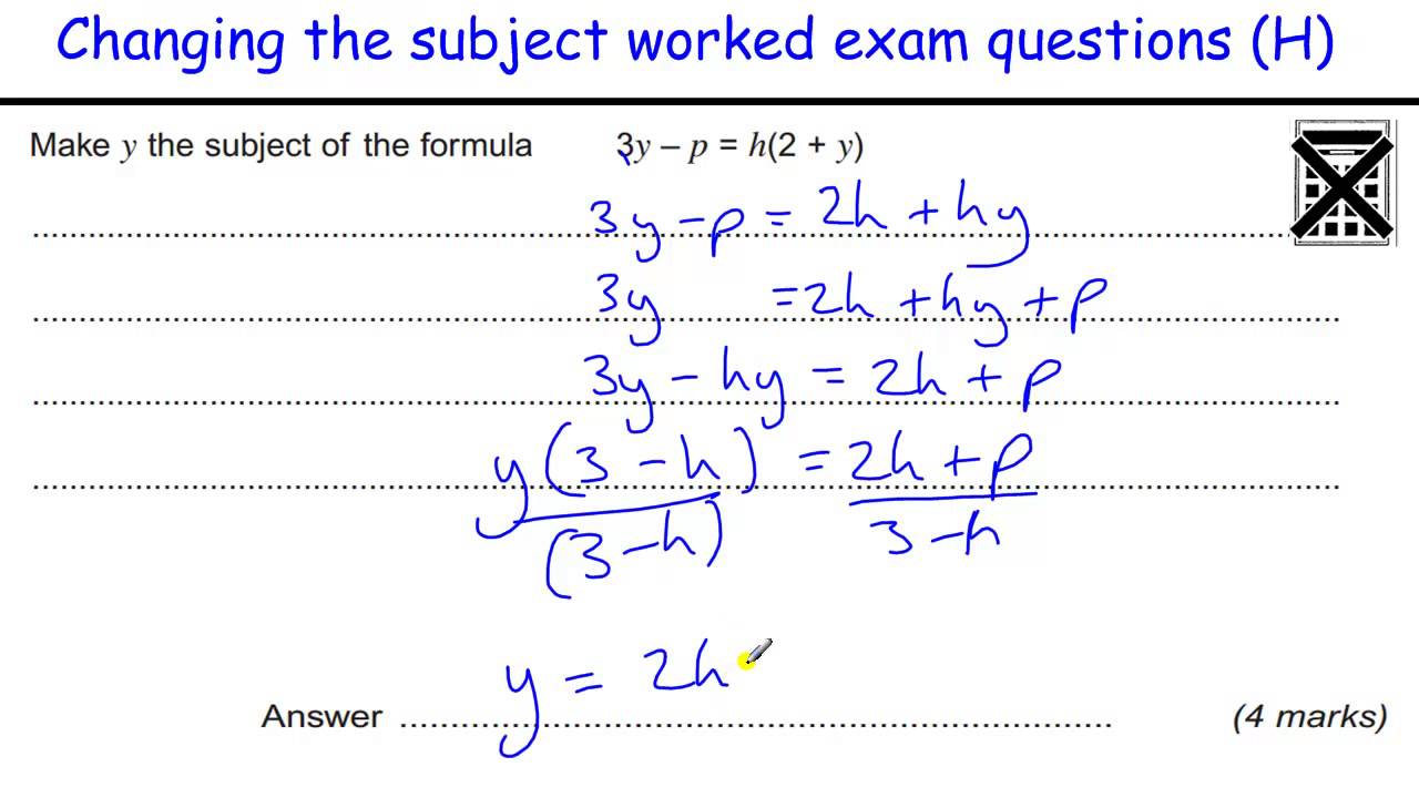 worksheet Rearranging Equations Worksheet how to do changing the subject formula gcse maths revision exam questions appears twice youtube