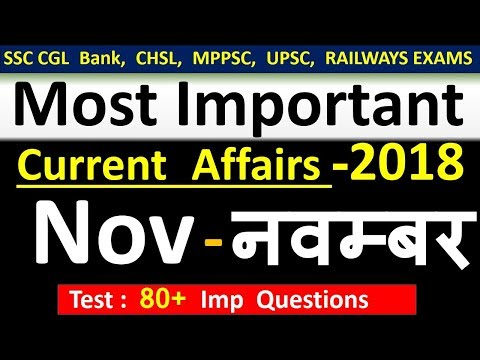 Current Affairs : November 2018 | Important Current Affairs 2018 |  Latest Current Affairs Quiz