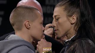 Rose Namajunas vs. Joanna Jedrzejczyk UFC 223 Staredown - MMA Fighting