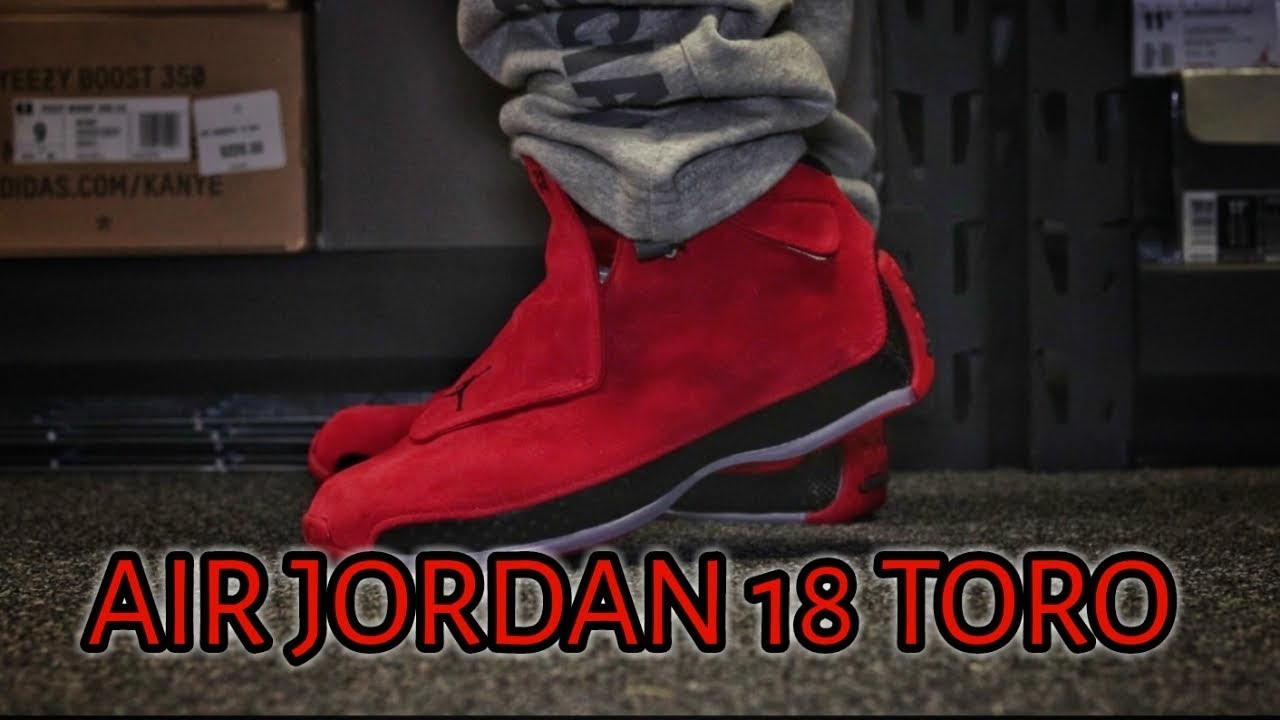 size 40 8d629 049f3 AIR JORDAN 18 RETRO RED SUEDE + ON FEET