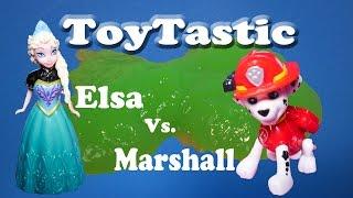 TOYTASTIC Disney Frozen Elsa vs Nickelodeon Paw Patrol Marshall a Frozen Paw Patrol Video