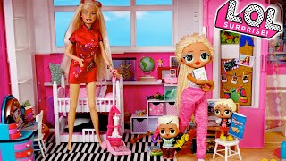 Barbie LOL Family Stay Home School & Cleaning Morning Routine with