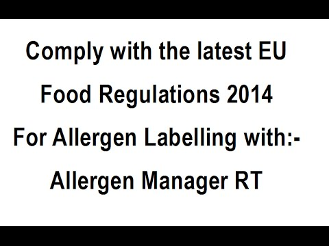 Allergen Labelling, Allergen Manager RT Highlight Allergens for Compliance to EU Food Regulations.