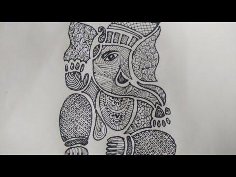 Draw Ganesha Madhubani Painting Black And White Madhu Bani