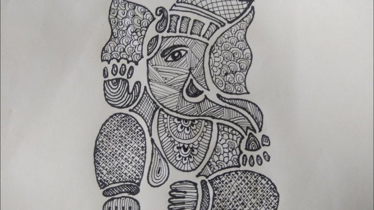Draw ganesha madhubani painting black and white madhu bani draw with shreya