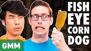 Nasty Corn Dog Taste Test Ft. Try Guys (Cornhole Game)