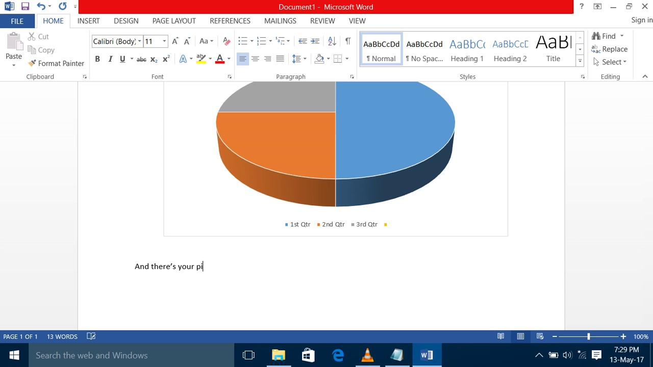 how to create a pie chart ms word