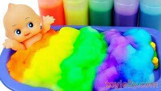 Learn Colors Body Paint Baby Doll Color Foam Bubble Bath Time Mickey Mouse Tool Toys Kinetic Sand