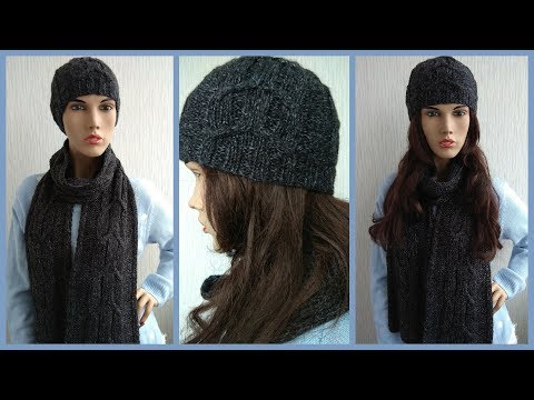 Cable hat and scarf knitting pattern + free chart
