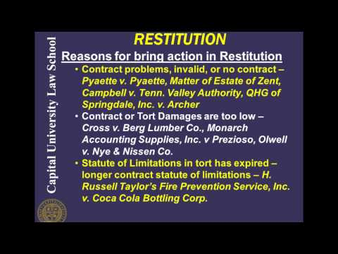 Remedies Video Lecture 10 - Restitution