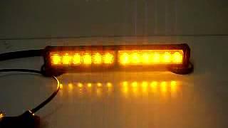 Emergency Warning Strobe 12 LED Amber Waterproof Magnets Strobe Light
