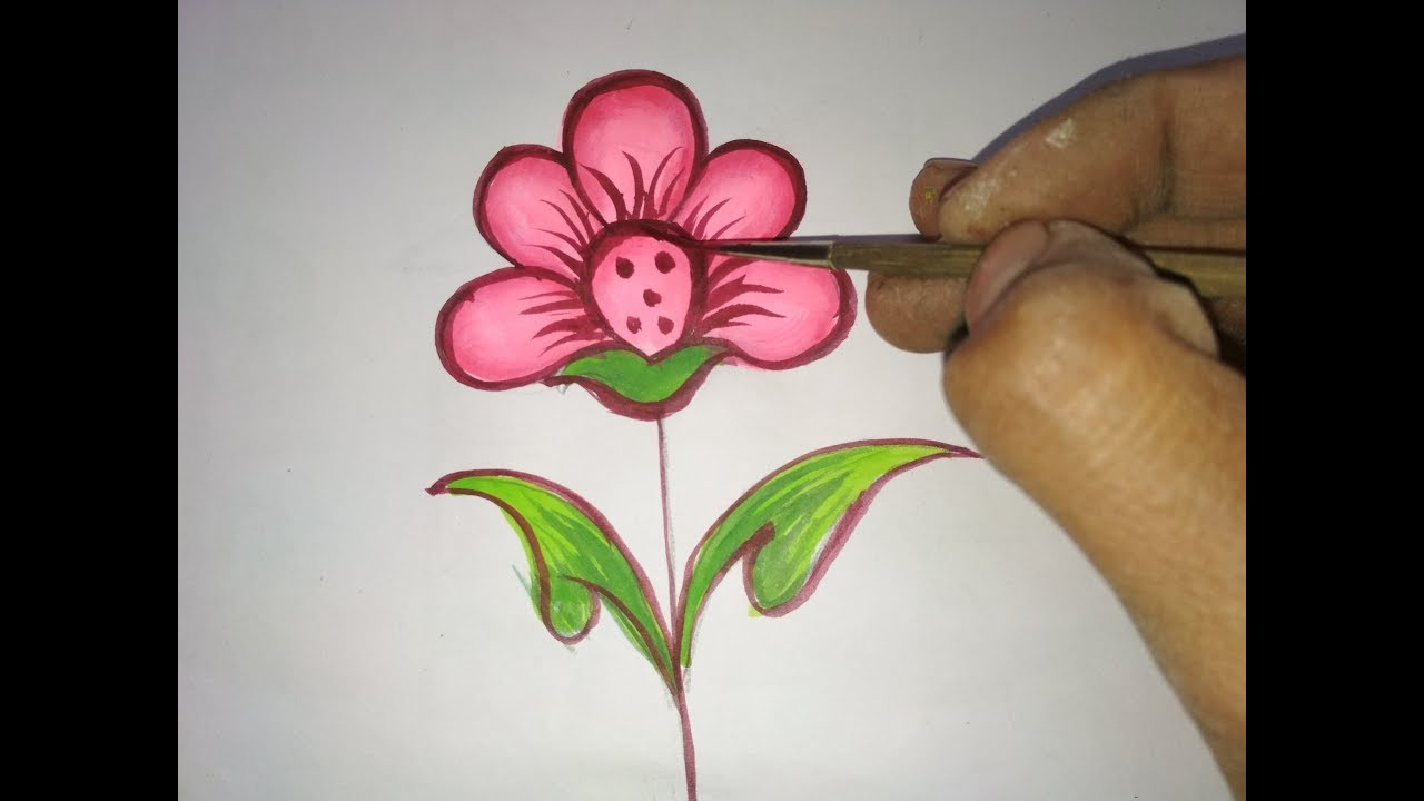 How To Draw Beautiful Flower Painting Step By Step Uv Art