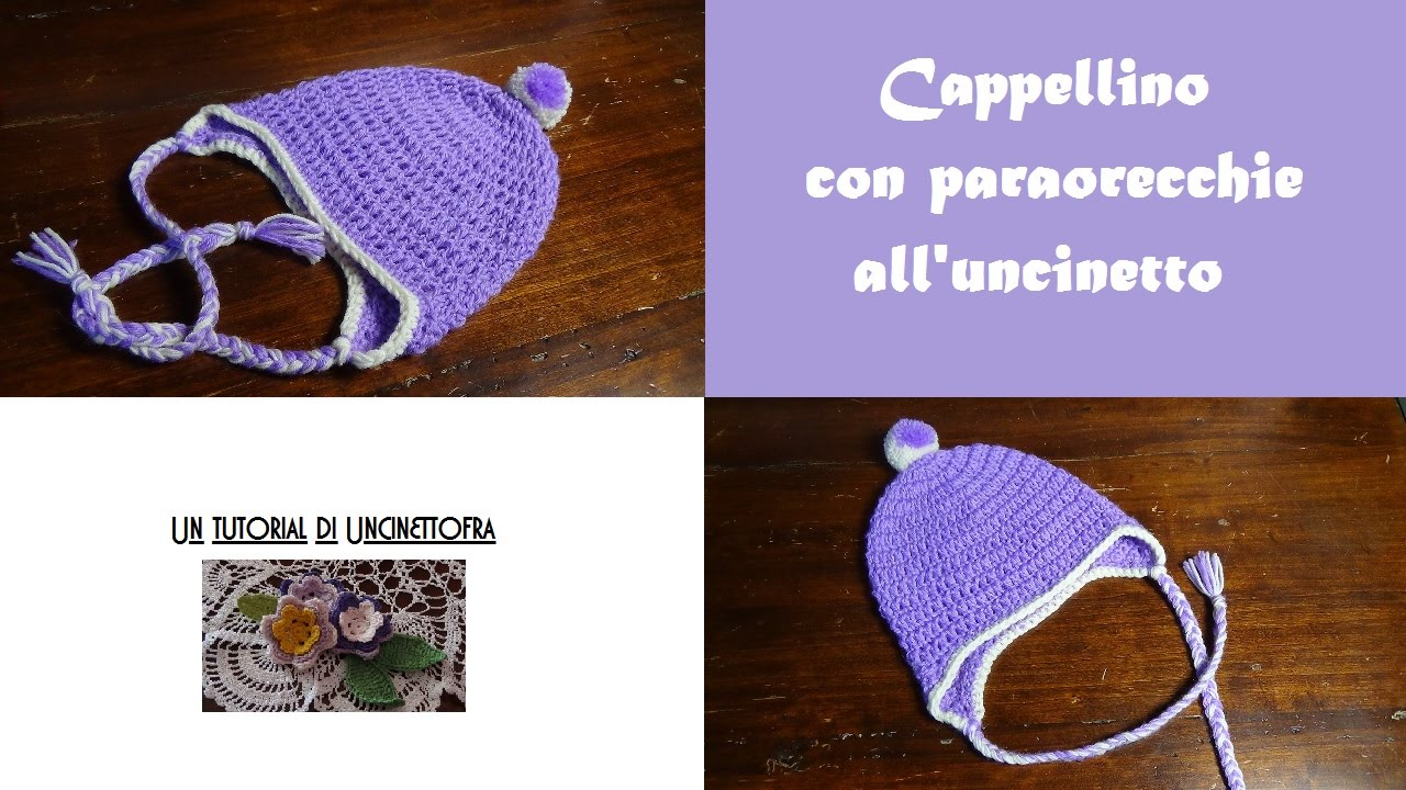 cappellino con paraorecchie all uncinetto tutorial - YouTube 70f2d3f258f0