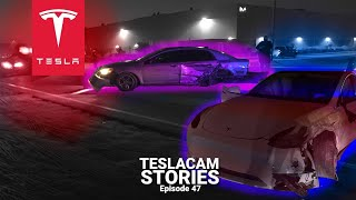 CRIMINAL CRASH A TESLA MODEL Y - SUSPECT AT LARGE | TESLACAM STORIES #47