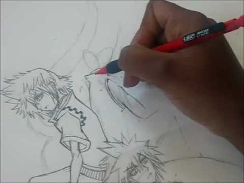 Drawing the Kingdom Hearts II Poster - Kairi, Roxas, Sora, Donald, Goofy, and King Mickey