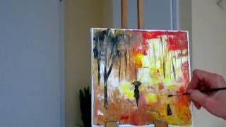Мастихин.Как рисовать с помощью мастихина деревья.Уроки живописи и рисования,как рисовать акрилом