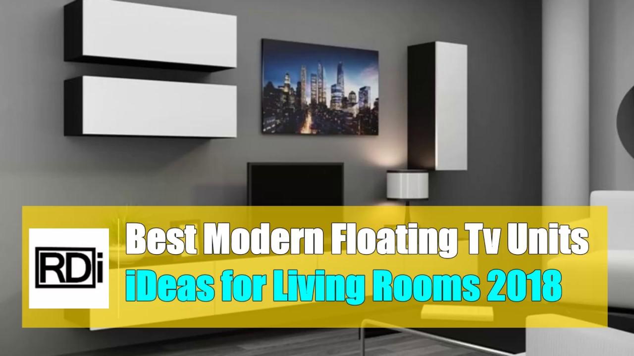 Best modern floating tv unit ideas for living room 2018 - YouTube