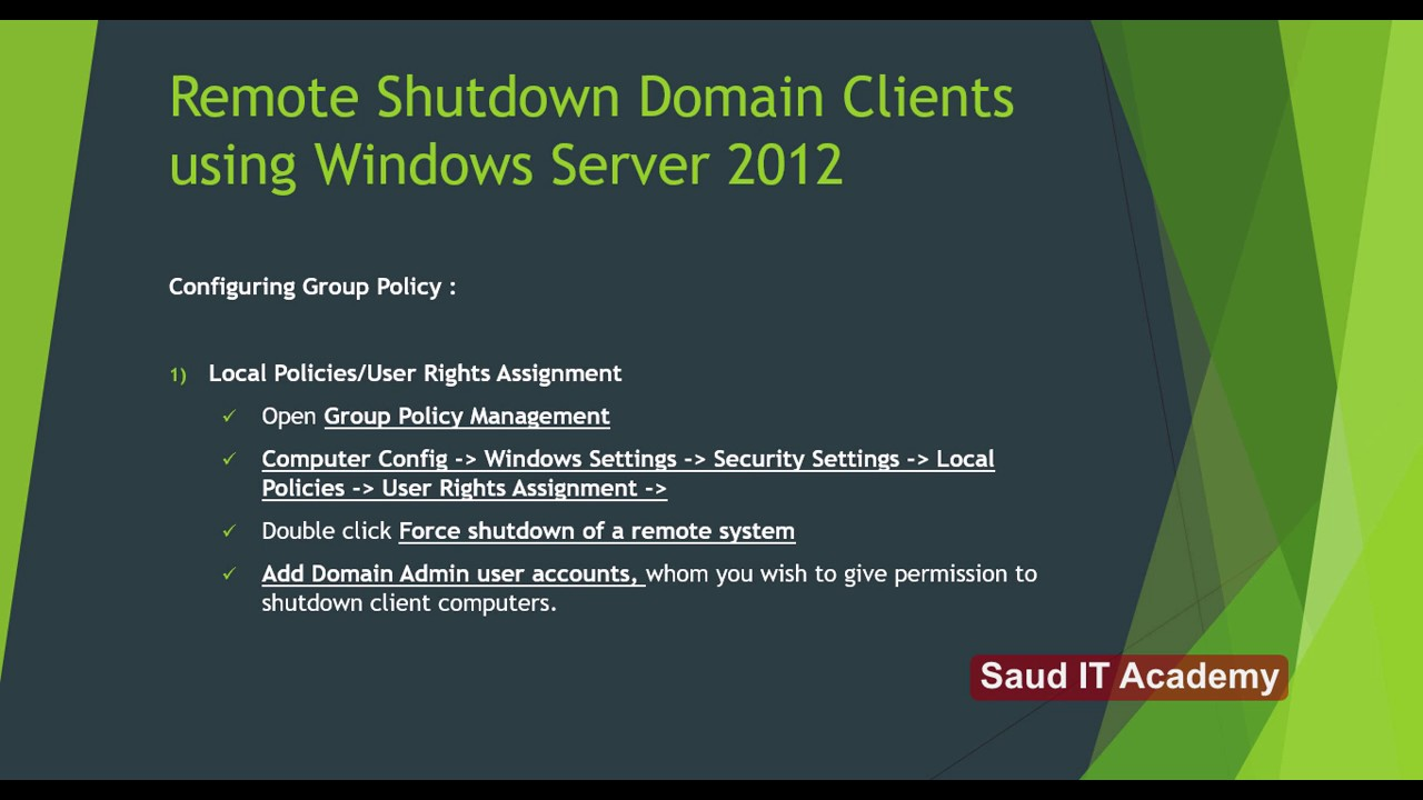 How to Remotely Shutdown Computers using Windows Server 2012