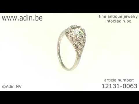Belle Epoque Art Deco diamond engagement ring platinum fine estate jewelry 12131 0063