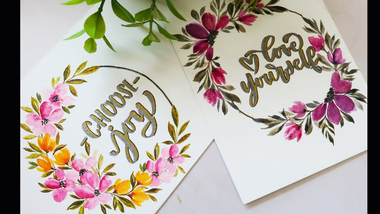 Hand Painted Watercolor Wreath Card Tutorial Basic Painting Ideas For Beginners Hand Lettering Youtube