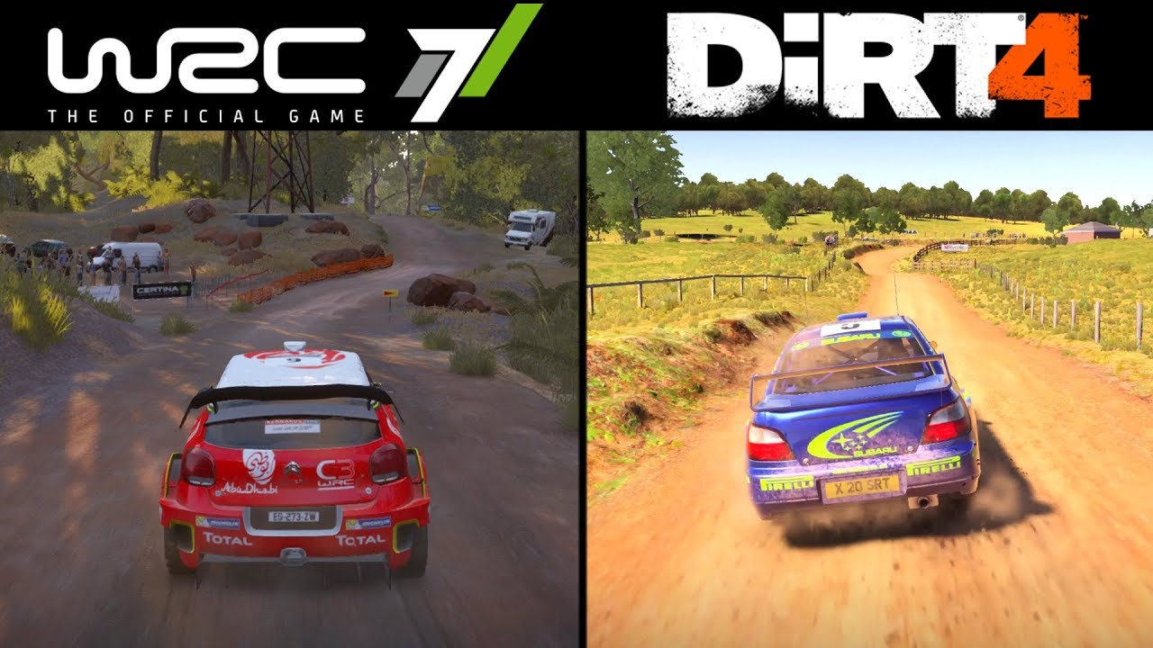wrc 7 vs dirt 4 comparison sound stage design graphics youtube. Black Bedroom Furniture Sets. Home Design Ideas