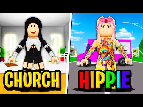 CHURCH MOM Vs HIPPIE MOM In Roblox BROOKHAVEN RP!!