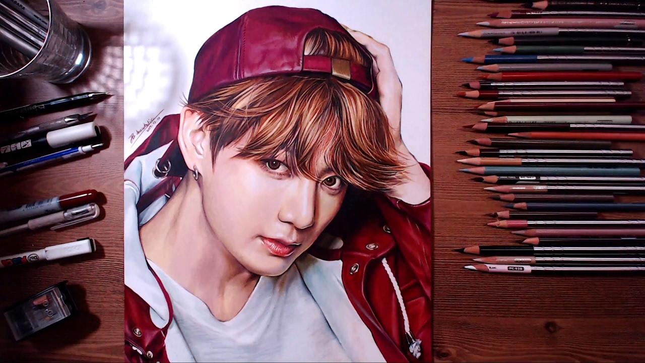 BTS : JungKook - colored pencil drawing | drawholic - YouTube