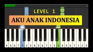 nada piano aku anak indonesia - tutorial piano grade 1 - lagu anak anak indonesia - not pianika
