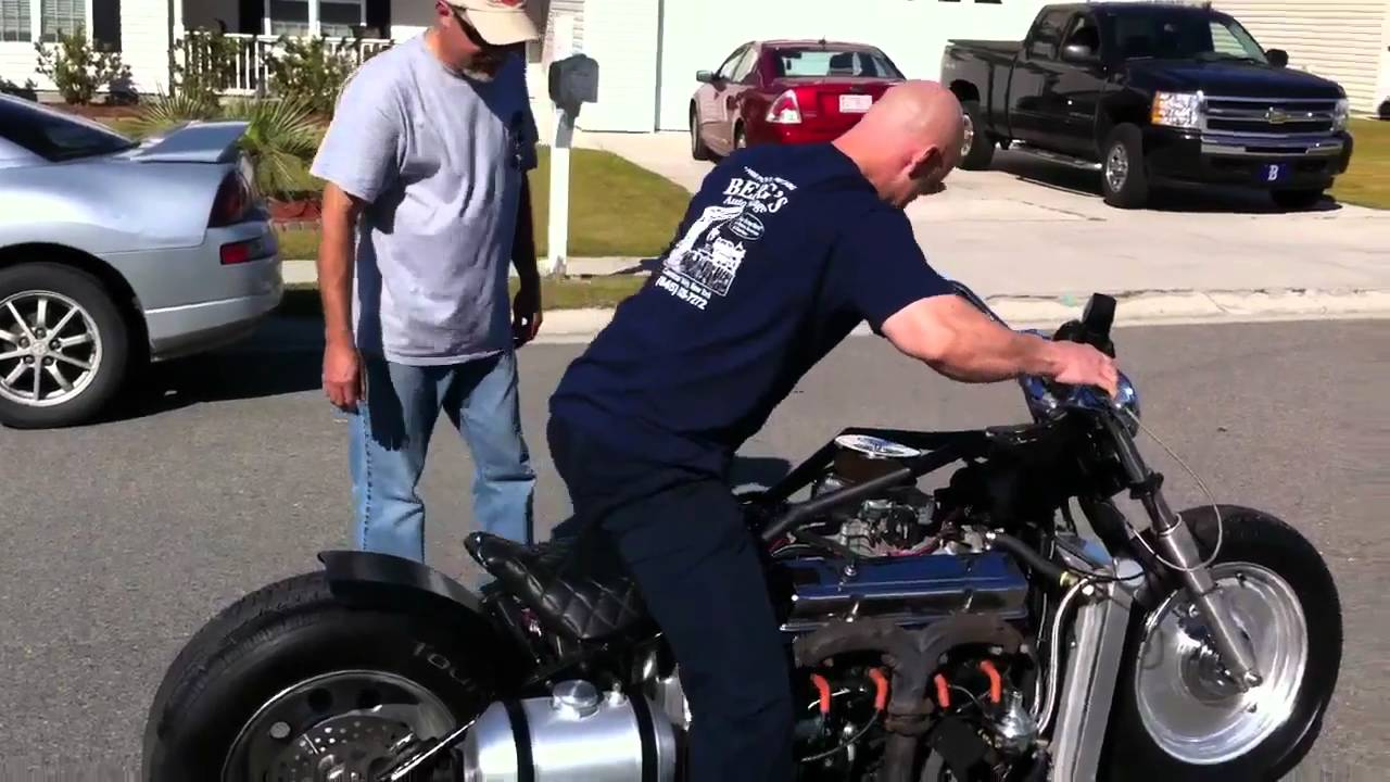 V8 corvette engine motorcycle youtube for Little motors for bicycles