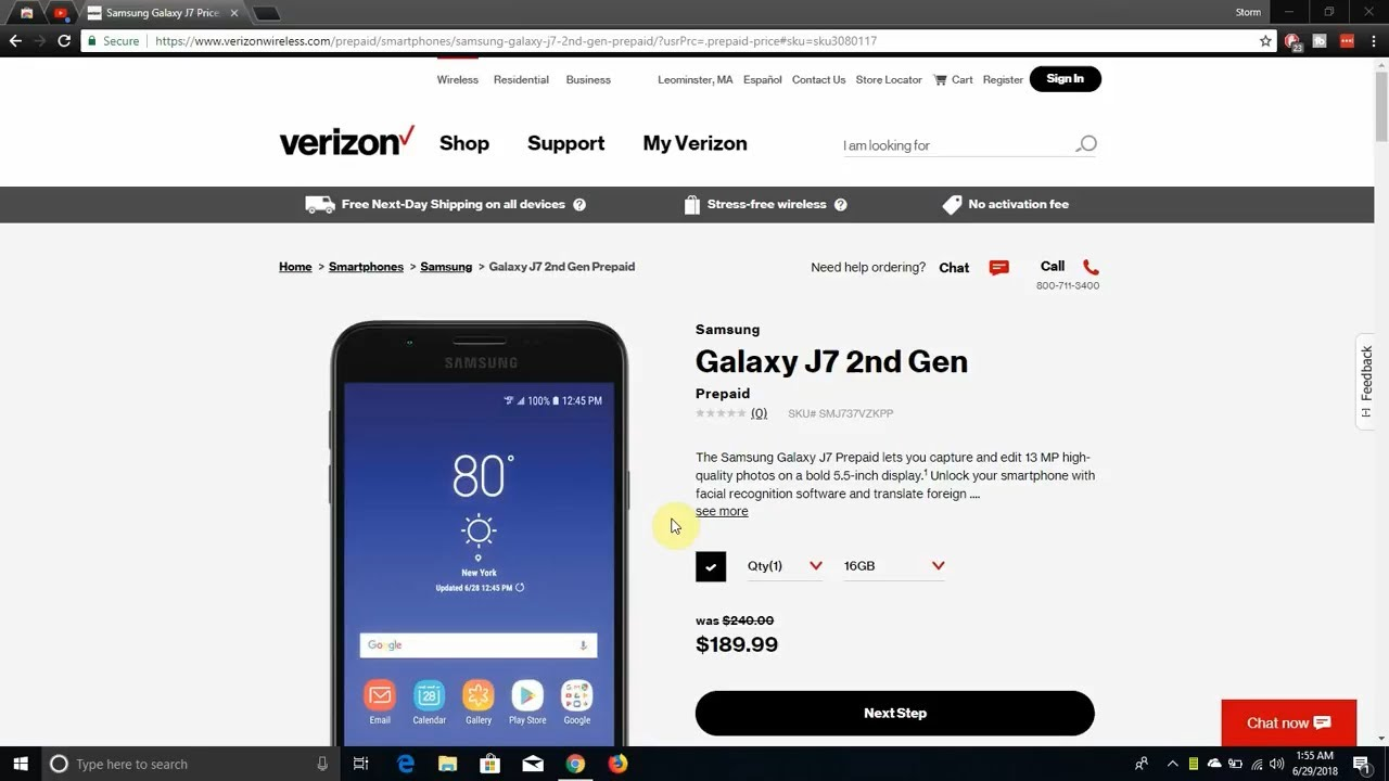 Samsung GALAXY J7 (2018) | Verizon Prepaid
