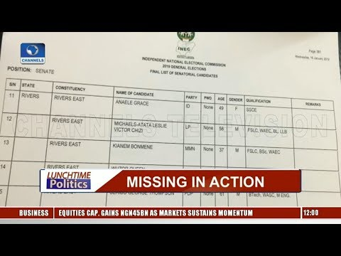 2019 Elections: APC Excluded In INEC's List For Rivers, Zamfara  Lunchtime Politics 