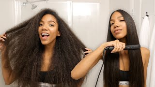 How I Straighten Mỳ Hair | Curly to Straight