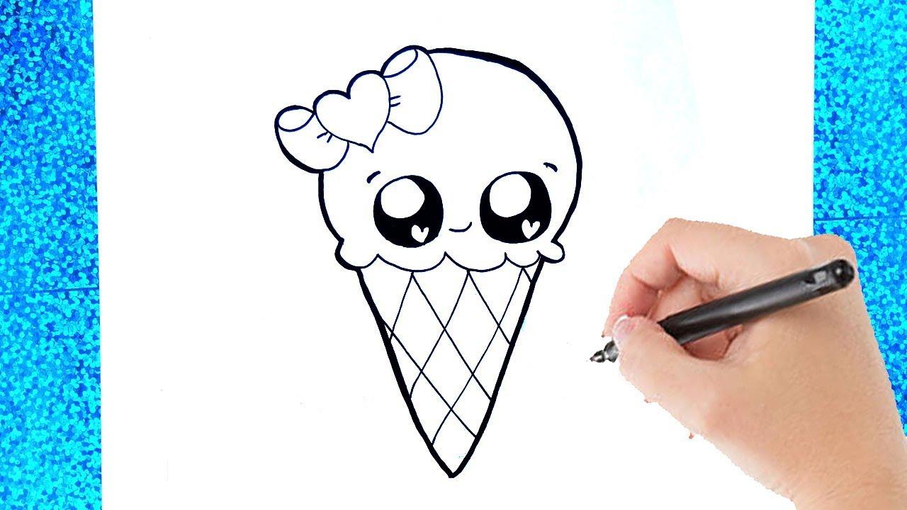 hoe teken je een schattig kawaii ijsje tekenen voor