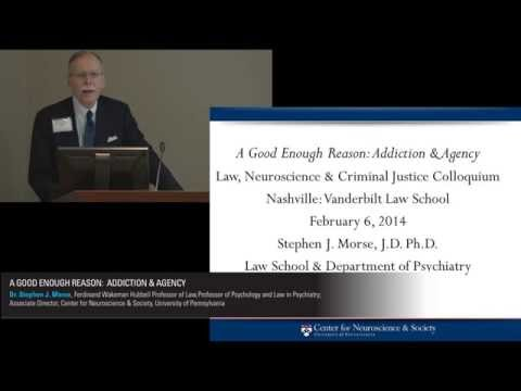 Stephen J. Morse presents Addiction & Agency. Vanderbilt Judicial Colloquium, Feb. 2014