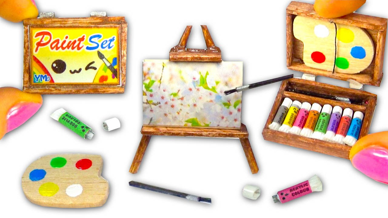 Miniature diy paint set paintings easel palette for Homedepot colorsmartbybehr com paintstore
