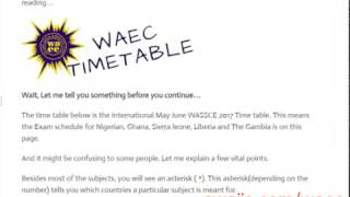 Download Video WAEC TIMETABLE 2017 - Get the 2017/2018  May June Wassce timetable MP3 3GP MP4