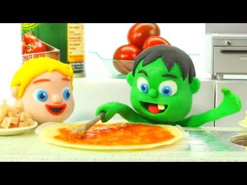 SUPERHERO BABIES MAKING PIZZA 鉂� SUPERHERO PLAY DOH CARTOONS FOR KIDS