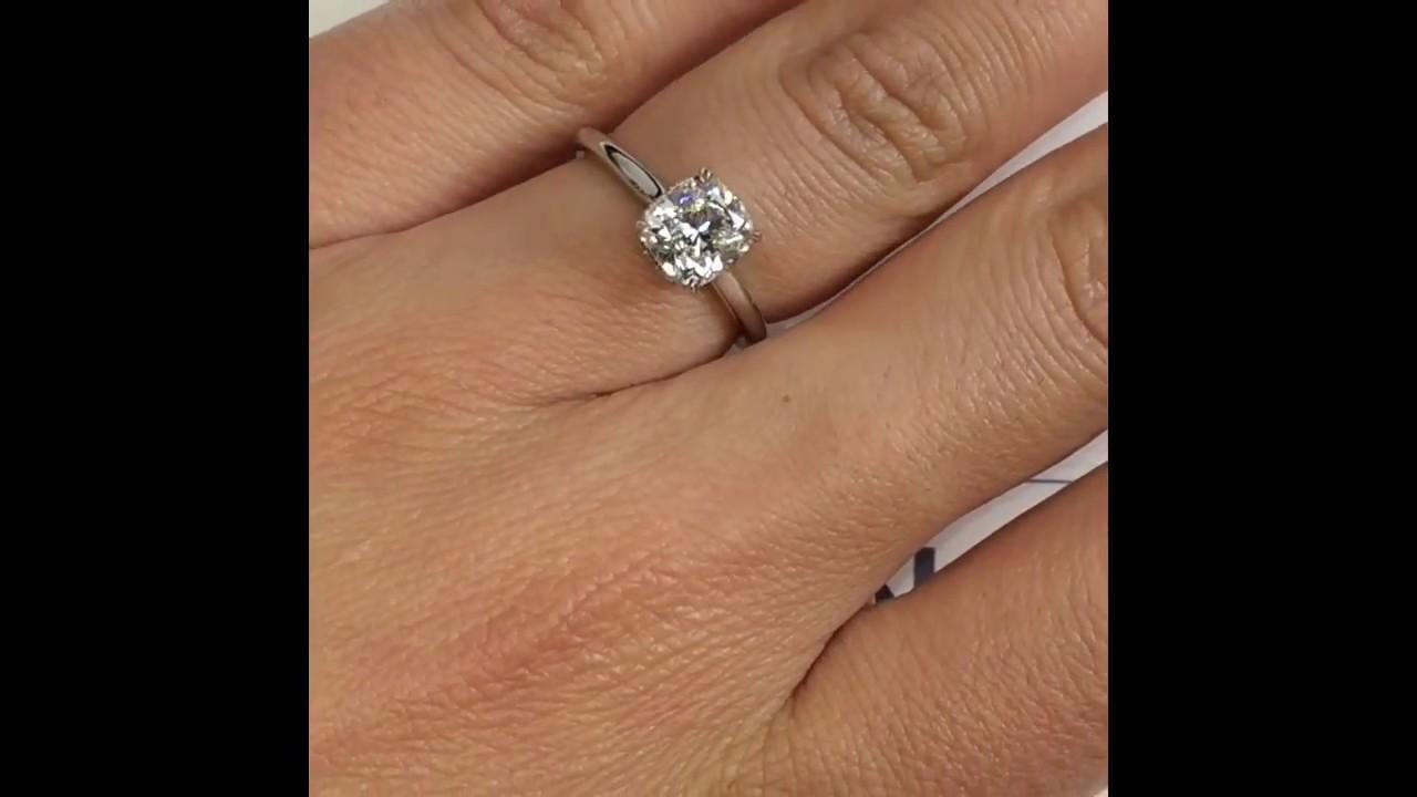 1.3 carat Cushion Cut Diamond Engagement Ring