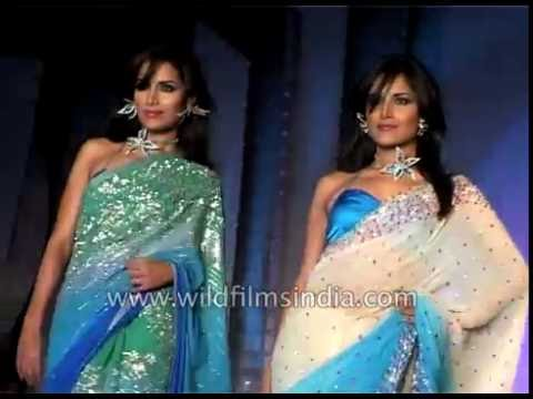 The Indian saree draped by women fashion models