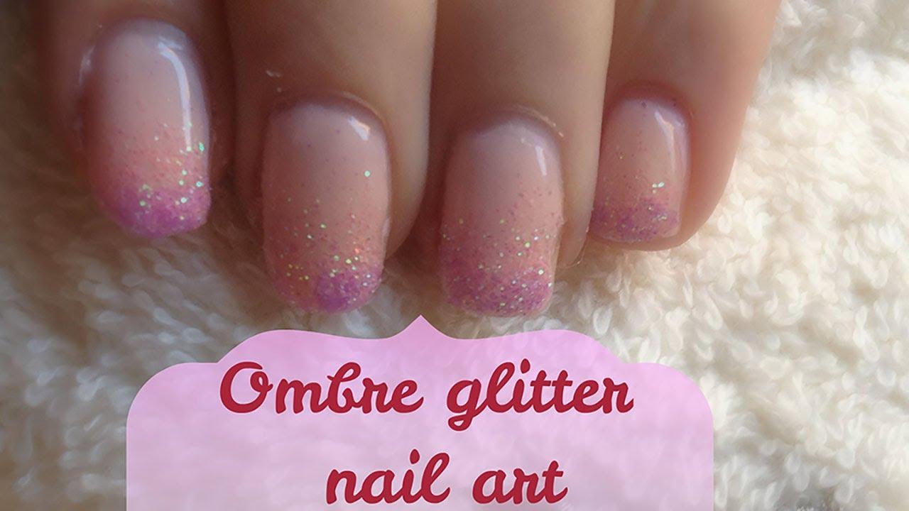 Tutorial - Ombre glitter nail art con gel essence - YouTube