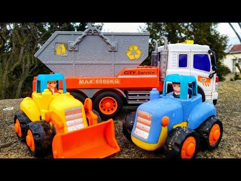Мультики про машинки. Синий трактор и мусоровоз. Машинки игрушки. Мультики для детей.