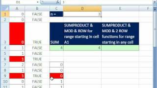 Excel Magic Trick 466: SUM every Nth value SUMPRODUCT, MOD & ROW functions