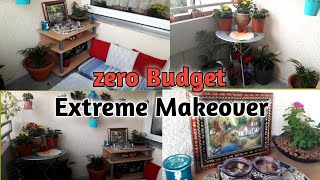 Extreme Balcony Makeover | My Balcony got new look l TRANSFORMATION ( zero Budget ) | Small rental