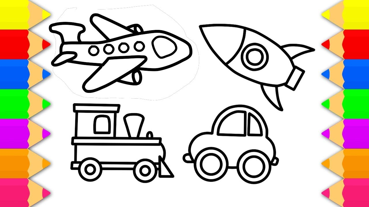 How To Draw Vehicle Toys For Kids Coloring Pages Vehicles Set