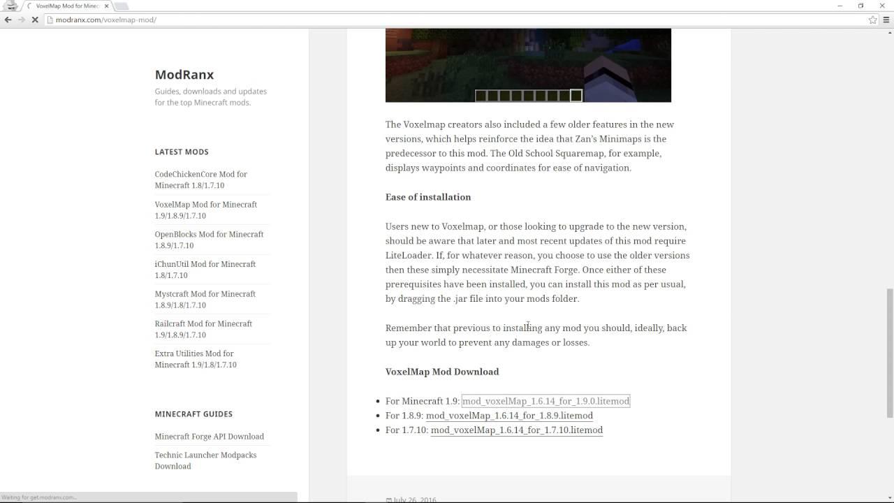 VoxelMap Mod For Minecraft YouTube - Voxelmap para minecraft 1 10 2