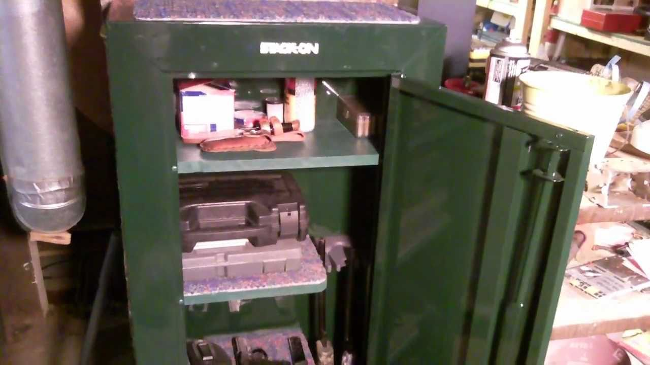 Stack-On Gun Cabinet Modification HD - YouTube