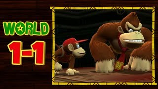 Donkey Kong Country Returns 3D - 1-1 Jungle Hijinxs  All Puzzle Pieces and KONG Letters